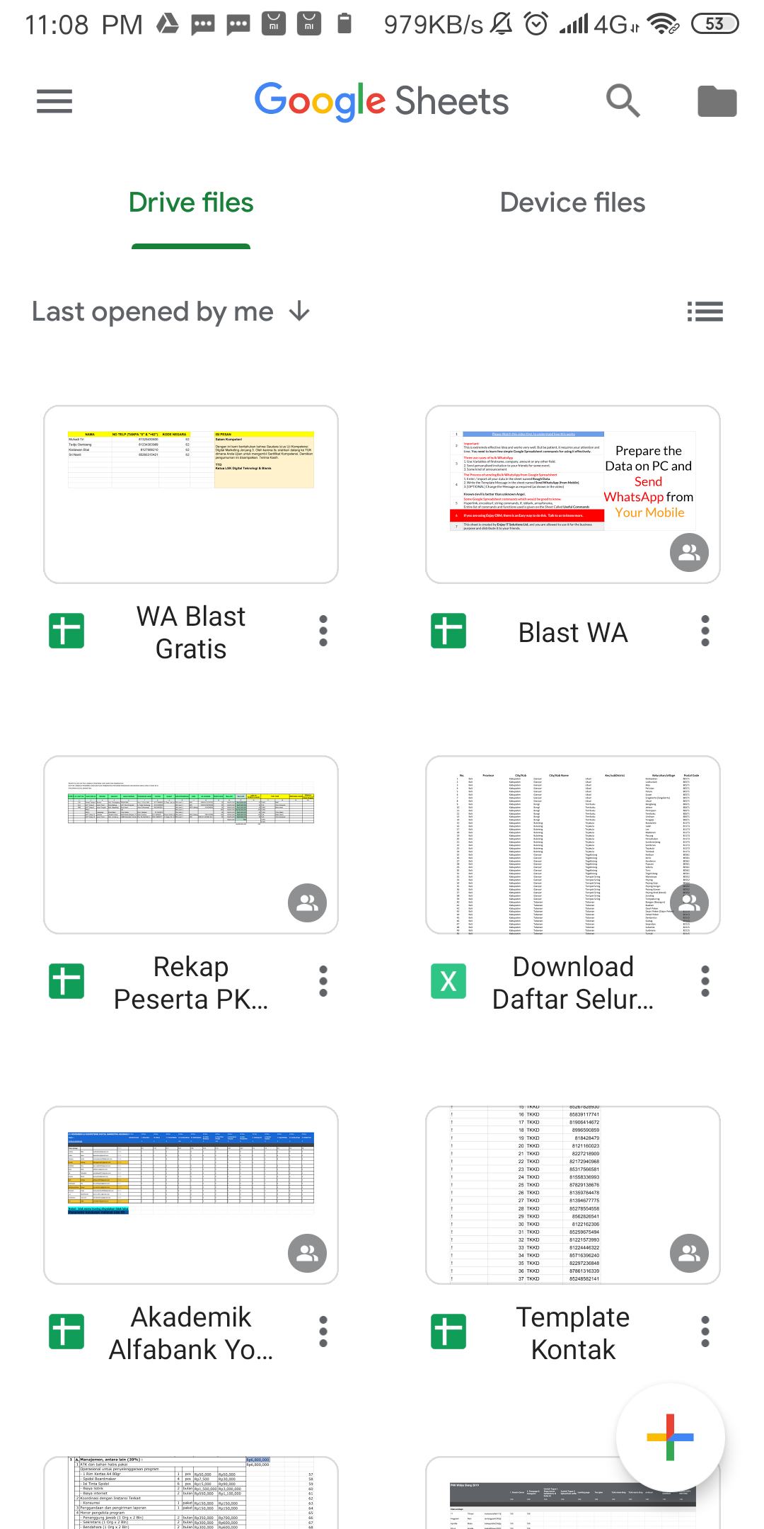 Tampilan Google Sheet di HP